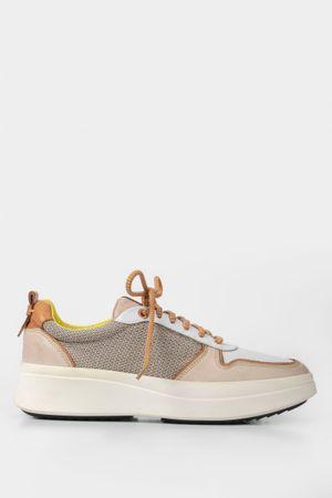 Sneakers plataforma de cuero para mujer combinados