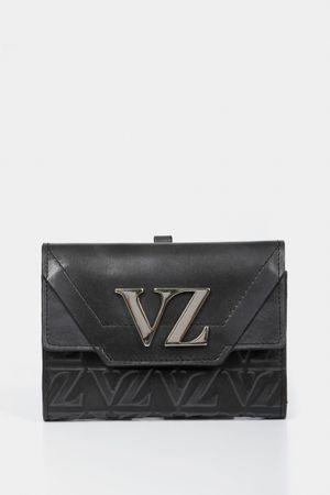 Billetera taupe de cuero para mujer grabado monograma VZ