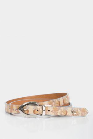 Cinturón doblefaz orbis de cuero para mujer estampado floral