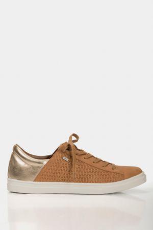 Sneakers casual amazonas de cuero para mujer grabado placa tejido