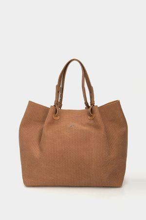 Shopping tachete de cuero para mujer grabado placa tejido