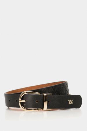 Cinturón doble faz veria de cuero para mujer vista bordada